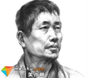 「美术高考」素描头像四分之三侧脸男中年-杭州凝结画室