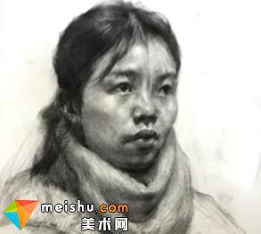 「美术高考」素描头像四分之三女青年2-杭州凝结画室