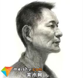 「美术高考」素描头像半侧男中年-杭州凝结画室