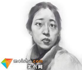 「美术高考」素描头像四分之三侧脸女青年-杭州凝结画室