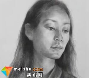 「美术高考」宋镇素描头像四分之三女青年-杭州凝结画室