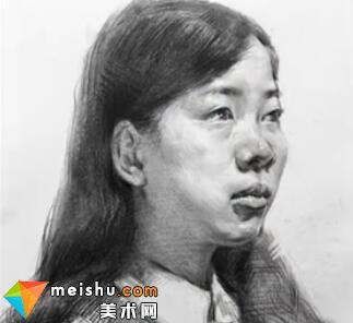 「美术高考」素描头像四分之三女青年4-杭州凝结画室