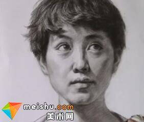 「美术高考」素描头像女青年正面-厦门达鸿画室