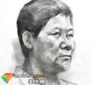 「美术高考」素描头像四分之三女老年-杭州凝结画室