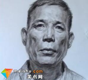 「美术高考」素描头像男中年正面-厦门达鸿画室