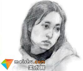 「美术高考」素描头像四分之三女青年1-杭州凝结画室