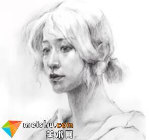 「美术高考」素描头像写生画室女教师-杭州凝结画室