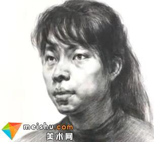 「美术高考」素描头像四分之三女青年3-杭州凝结画室