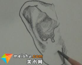 于萍速写耳朵局部示范-美术高考视频教学