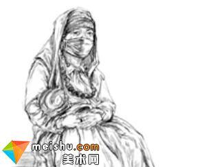 「美术高考」速写女青年坐姿戴口罩-杭州凝结画室