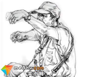「美术高考」速写男中年挎包坐姿-杭州凝结画室