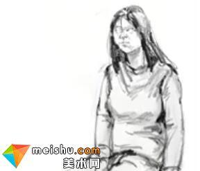 「美术高考」速写女青年坐姿8-杭州凝结画室