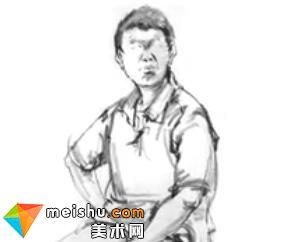 「美术高考」速写男青年坐姿7-杭州凝结画室