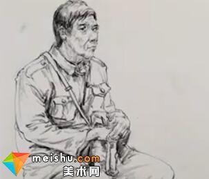 「美术高考」速写男中年坐姿1-杭州凝结画室