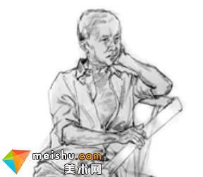 「美术高考」速写坐姿思考的男中年-杭州凝结画室