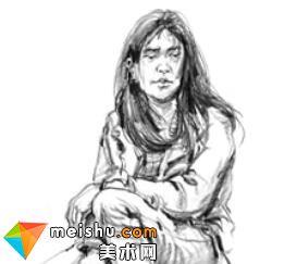 「美术高考」速写女青年坐姿5-杭州凝结画室