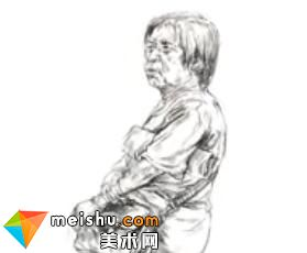「美术高考」速写女老年站姿挎包-杭州凝结画室
