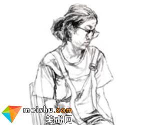「美术高考」速写女青年坐姿戴眼镜-杭州凝结画室