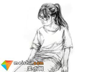 「美术高考」速写女青年坐姿6-杭州凝结画室