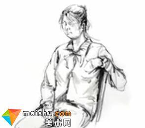 「美术高考」速写女青年坐姿9-杭州凝结画室
