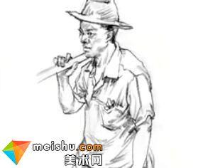 「美术高考」速写男中年站姿挑扁担-杭州凝结画室