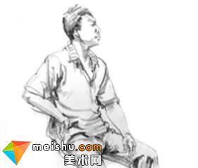 「美术高考」速写男青年坐姿6-杭州凝结画室