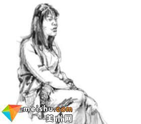 「美术高考」速写女青年坐姿4-杭州凝结画室