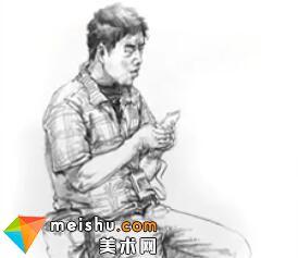 「美术高考」速写玩手机的男青年坐姿-杭州凝结画室