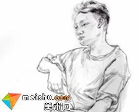 「美术高考」速写画室写生男青年坐姿-杭州凝结画室