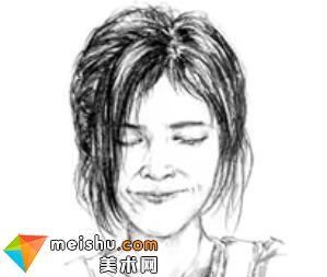 「美术高考」速写女青年头部细节-杭州凝结画室