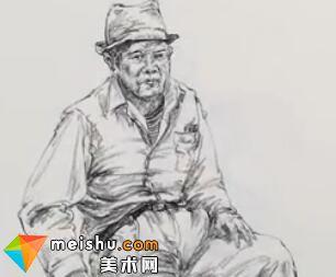 「美术高考」速写老爷爷坐姿戴帽子2-杭州凝结画室