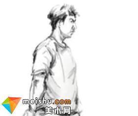 「美术高考」速写男青年站姿4-杭州凝结画室