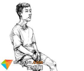 「美术高考」速写男青年坐姿8-杭州凝结画室
