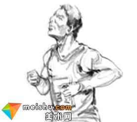 「美术高考」速写运动会长跑的男青年-杭州凝结画室
