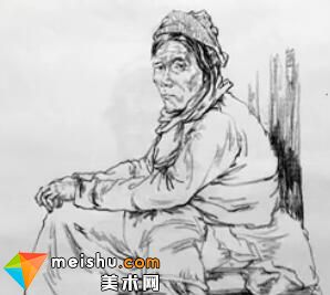 「美术高考」卢明靖速写女老年坐姿-杭州凝结画室