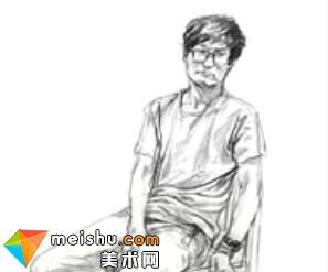 「美术高考」速写男青年坐姿5-杭州凝结画室