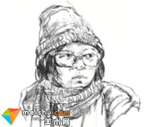 「美术高考」速写女青年头部细节刻画-杭州凝结画室