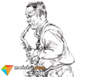 「美术高考」速写男中年站姿吹雷克萨斯-杭州凝结画室