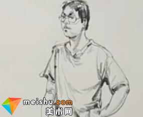 「美术高考」速写男青年站姿单手撑腰-杭州凝结画室