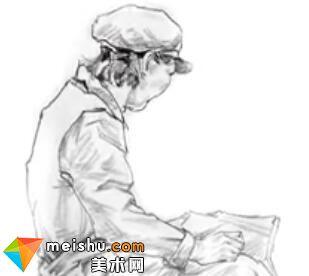 「美术高考」速写劳动的女青年坐姿-杭州凝结画室