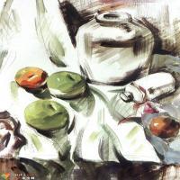 色彩静物表现实例——罐子和水果